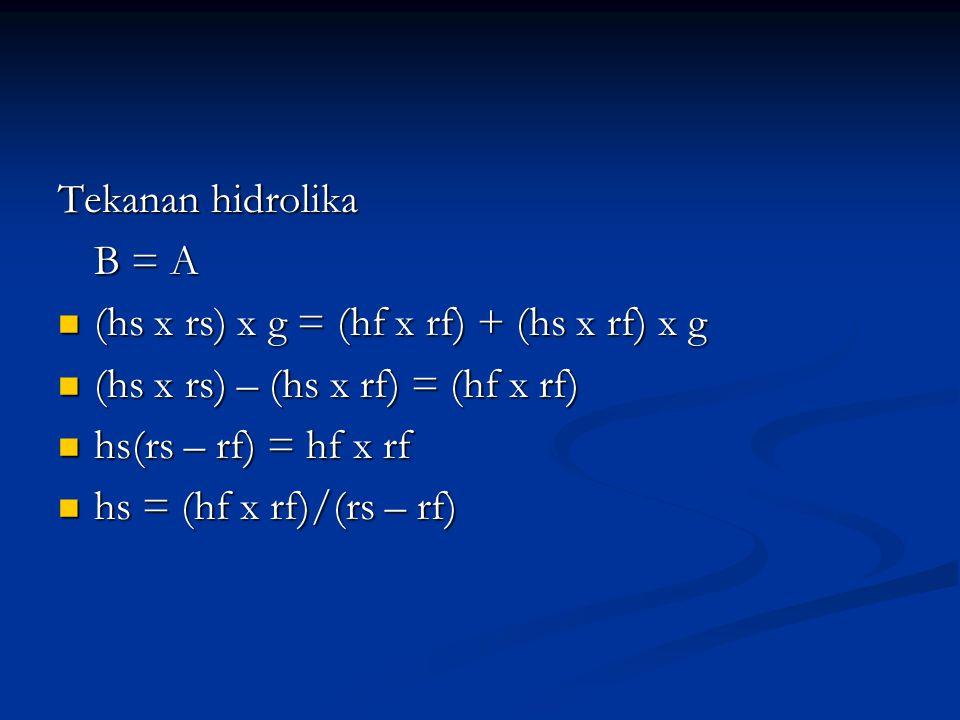 Tekanan hidrolika B = A (hs x rs) x g = (hf x rf) + (hs x rf) x g (hs x rs) x g = (hf x rf) + (hs x rf) x g (hs x rs) – (hs x rf) = (hf x rf) (hs x rs