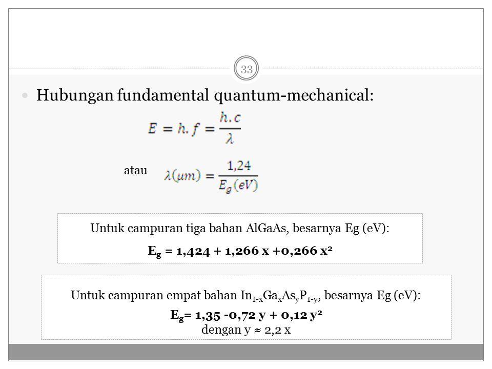 Hubungan fundamental quantum-mechanical: atau Untuk campuran tiga bahan AlGaAs, besarnya Eg (eV): E g = 1,424 + 1,266 x +0,266 x 2 Untuk campuran empat bahan In 1-x Ga x As y P 1-y, besarnya Eg (eV): E g = 1,35 -0,72 y + 0,12 y 2 dengan y ≈ 2,2 x 33