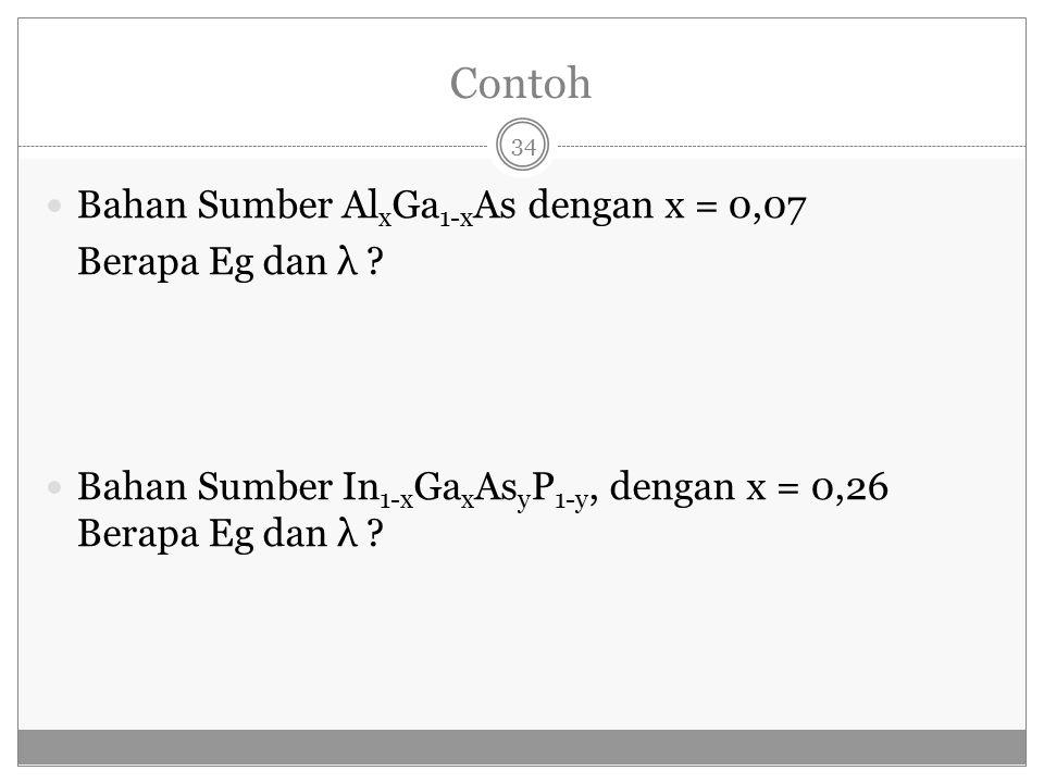 Contoh Bahan Sumber Al x Ga 1-x As dengan x = 0,07 Berapa Eg dan λ ? Bahan Sumber In 1-x Ga x As y P 1-y, dengan x = 0,26 Berapa Eg dan λ ? 34
