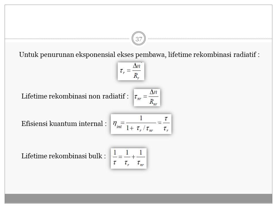 Untuk penurunan eksponensial ekses pembawa, lifetime rekombinasi radiatif : Lifetime rekombinasi non radiatif : Efisiensi kuantum internal : Lifetime rekombinasi bulk : 37