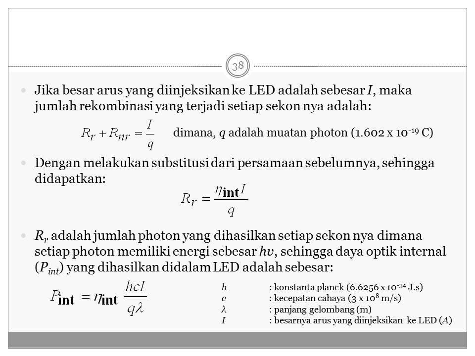 Jika besar arus yang diinjeksikan ke LED adalah sebesar I, maka jumlah rekombinasi yang terjadi setiap sekon nya adalah: Dengan melakukan substitusi dari persamaan sebelumnya, sehingga didapatkan: R r adalah jumlah photon yang dihasilkan setiap sekon nya dimana setiap photon memiliki energi sebesar hv, sehingga daya optik internal (P int ) yang dihasilkan didalam LED adalah sebesar: dimana, q adalah muatan photon (1.602 x 10 -19 C) h: konstanta planck (6.6256 x 10 -34 J.s) c: kecepatan cahaya (3 x 10 8 m/s) λ: panjang gelombang (m) I: besarnya arus yang diinjeksikan ke LED (A) 38