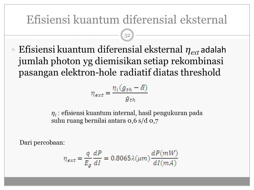 Efisiensi kuantum diferensial eksternal Efisiensi kuantum diferensial eksternal η ext adalah jumlah photon yg diemisikan setiap rekombinasi pasangan elektron-hole radiatif diatas threshold η i : efisiensi kuantum internal, hasil pengukuran pada suhu ruang bernilai antara 0,6 s/d 0,7 Dari percobaan: 52