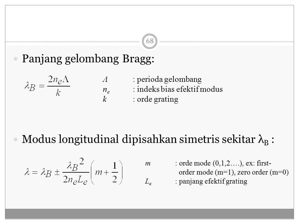 Panjang gelombang Bragg: Modus longitudinal dipisahkan simetris sekitar λ B : Λ: perioda gelombang n e : indeks bias efektif modus k : orde grating m: orde mode (0,1,2….), ex: first- order mode (m=1), zero order (m=0) L e : panjang efektif grating 68