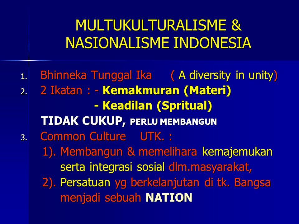 MULTUKULTURALISME & NASIONALISME INDONESIA 1.Bhinneka Tunggal Ika ( A diversity in unity) 2.