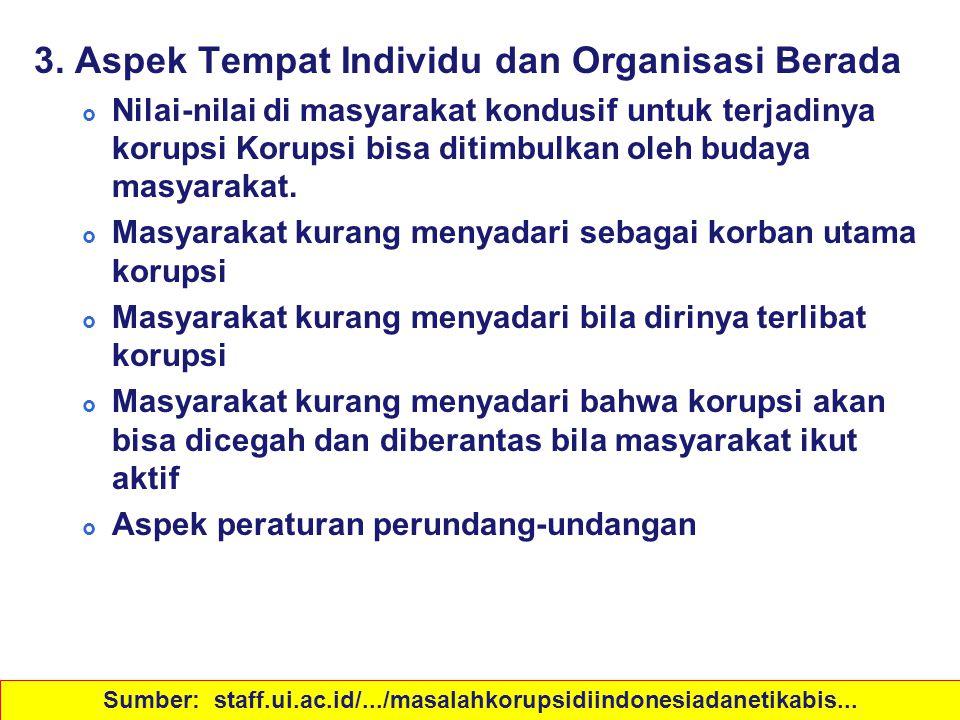 Sebab-sebab Korupsi 3. Aspek Tempat Individu dan Organisasi Berada  Nilai-nilai di masyarakat kondusif untuk terjadinya korupsi Korupsi bisa ditimbul