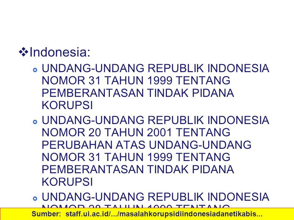 Peraturan  Indonesia:  UNDANG-UNDANG REPUBLIK INDONESIA NOMOR 31 TAHUN 1999 TENTANG PEMBERANTASAN TINDAK PIDANA KORUPSI  UNDANG-UNDANG REPUBLIK IND