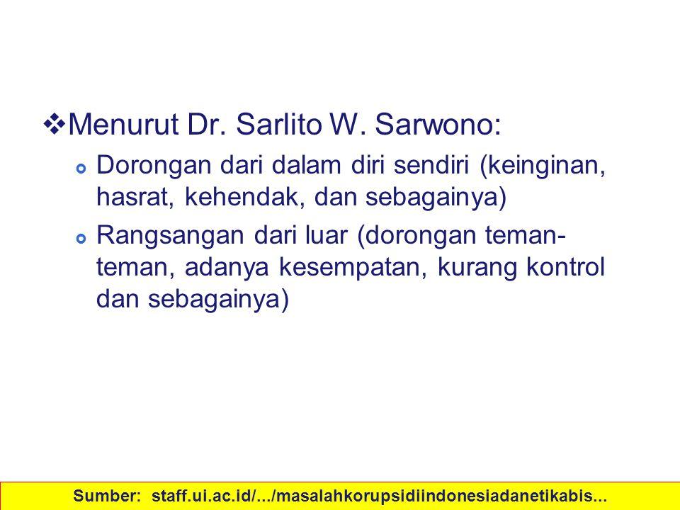 Sebab-sebab Korupsi  Menurut Dr. Sarlito W. Sarwono:  Dorongan dari dalam diri sendiri (keinginan, hasrat, kehendak, dan sebagainya)  Rangsangan da