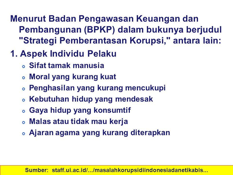 Sebab-sebab Korupsi Menurut Badan Pengawasan Keuangan dan Pembangunan (BPKP) dalam bukunya berjudul