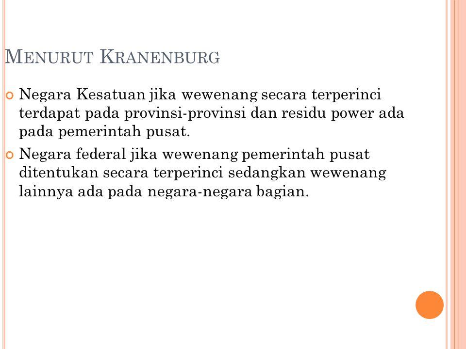 M ENURUT K RANENBURG Negara Kesatuan jika wewenang secara terperinci terdapat pada provinsi-provinsi dan residu power ada pada pemerintah pusat. Negar