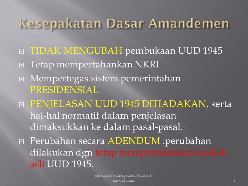  Menyempurnakan sistem ketatanegaraan Indonesia agar sesuai perkembangan gagasan hukum, ketatanegaraan, dan demokrasi.