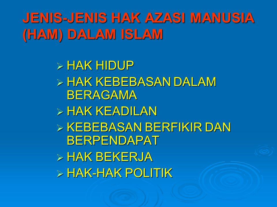 JENIS-JENIS HAK AZASI MANUSIA (HAM) DALAM ISLAM  HAK HIDUP  HAK KEBEBASAN DALAM BERAGAMA  HAK KEADILAN  KEBEBASAN BERFIKIR DAN BERPENDAPAT  HAK BEKERJA  HAK-HAK POLITIK
