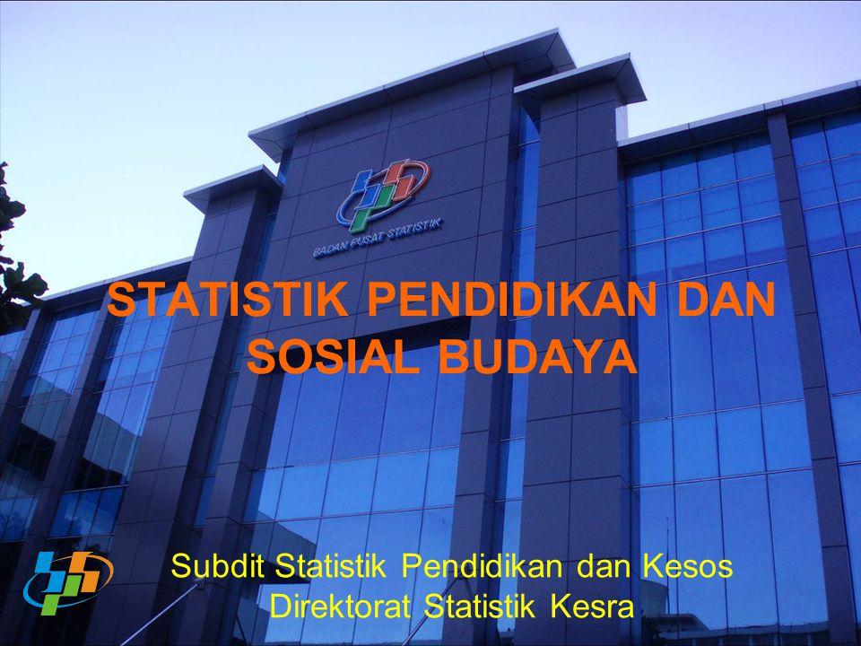 STATISTIK PENDIDIKAN DAN SOSIAL BUDAYA Subdit Statistik Pendidikan dan Kesos Direktorat Statistik Kesra