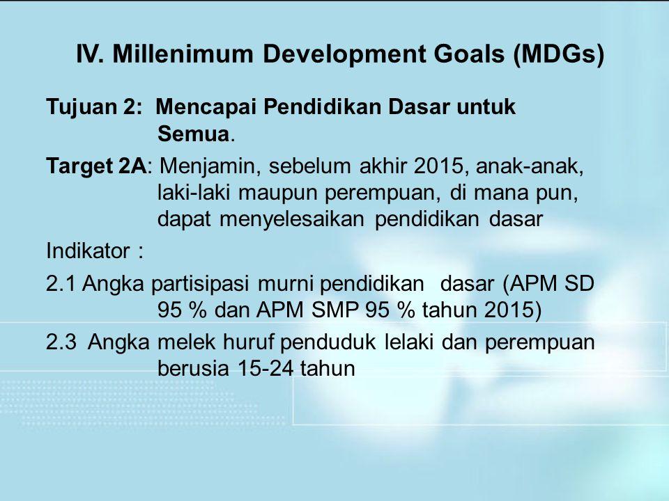 Tujuan 2: Mencapai Pendidikan Dasar untuk Semua. Target 2A: Menjamin, sebelum akhir 2015, anak-anak, laki-laki maupun perempuan, di mana pun, dapat me