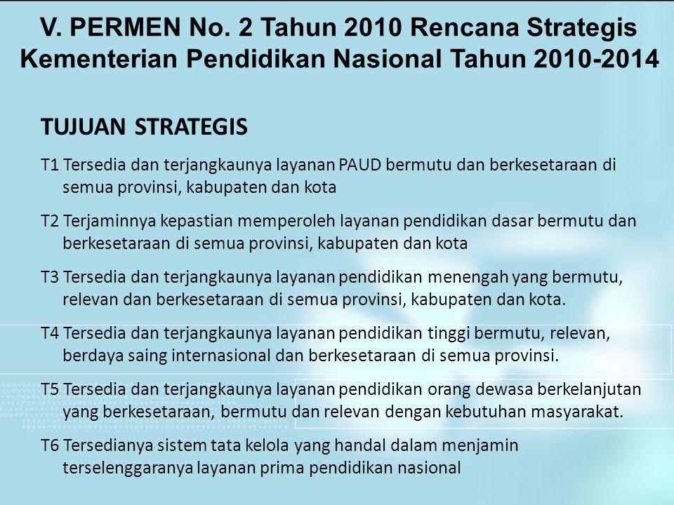 V. PERMEN No. 2 Tahun 2010 Rencana Strategis Kementerian Pendidikan Nasional Tahun 2010-2014 TUJUAN STRATEGIS T1 Tersedia dan terjangkaunya layanan PA