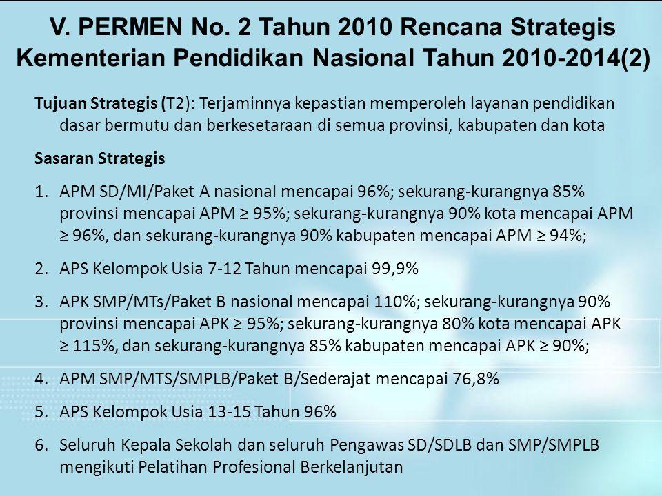 V. PERMEN No. 2 Tahun 2010 Rencana Strategis Kementerian Pendidikan Nasional Tahun 2010-2014(2) Tujuan Strategis (T2): Terjaminnya kepastian memperole