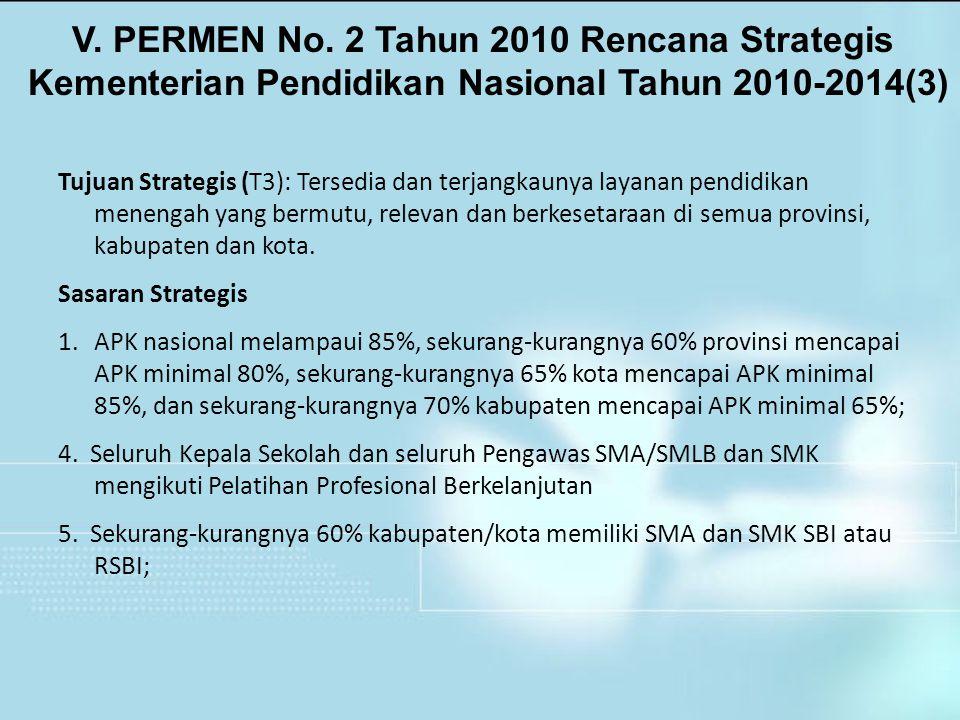 V. PERMEN No. 2 Tahun 2010 Rencana Strategis Kementerian Pendidikan Nasional Tahun 2010-2014(3) Tujuan Strategis (T3): Tersedia dan terjangkaunya laya