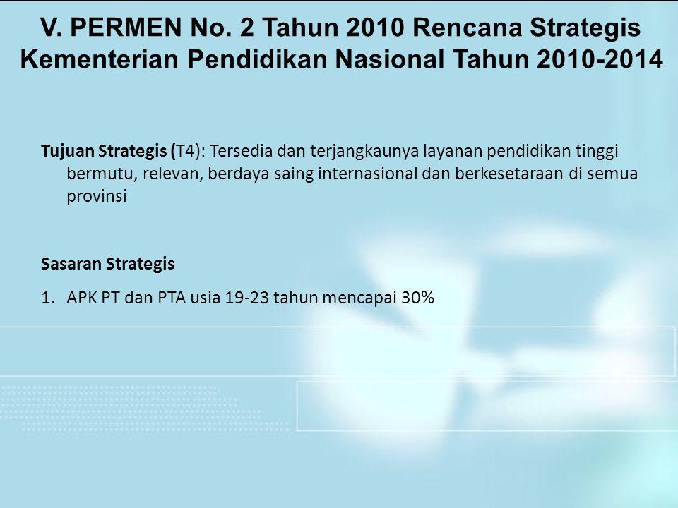 V. PERMEN No. 2 Tahun 2010 Rencana Strategis Kementerian Pendidikan Nasional Tahun 2010-2014 Tujuan Strategis (T4): Tersedia dan terjangkaunya layanan