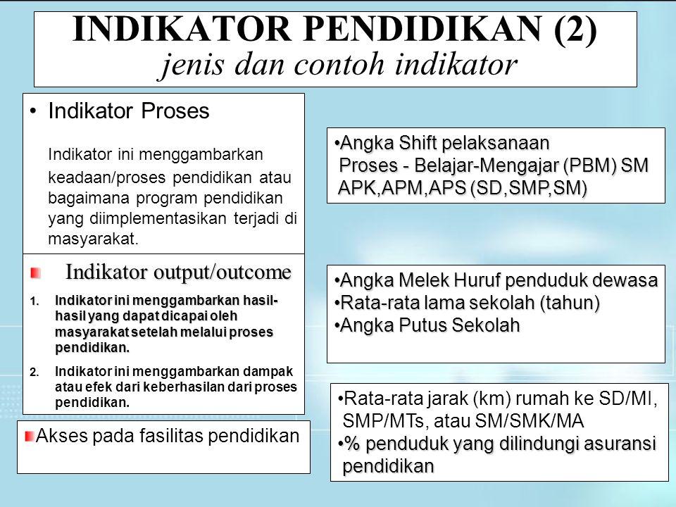 INDIKATOR PENDIDIKAN (2) jenis dan contoh indikator Indikator Proses Indikator ini menggambarkan keadaan/proses pendidikan atau bagaimana program pend