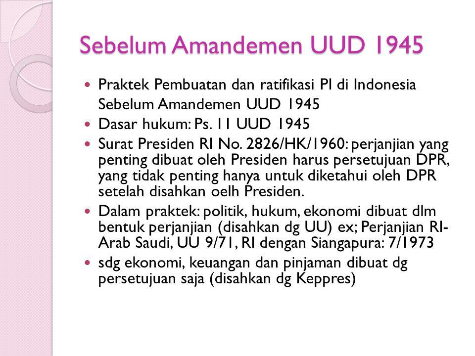 Sebelum Amandemen UUD 1945 Praktek Pembuatan dan ratifikasi PI di Indonesia Sebelum Amandemen UUD 1945 Dasar hukum: Ps. 11 UUD 1945 Surat Presiden RI