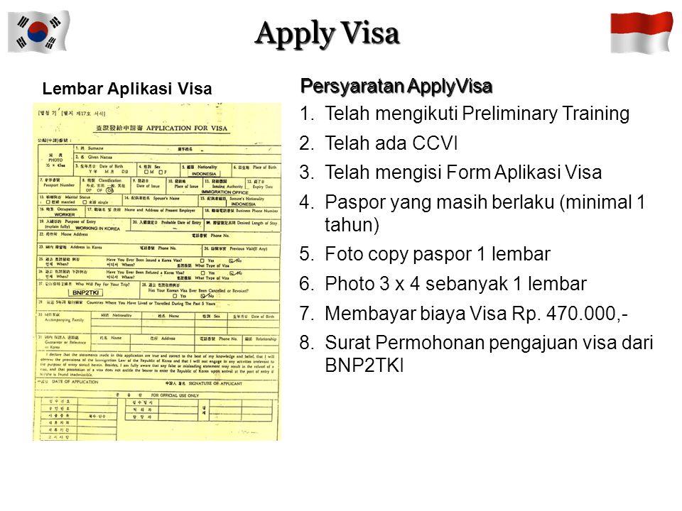 Certificate Confirmation of Visa Issuance (CCVI)  Pengguna/User di Korea mengurus CCVI di Imigrasi Korea dan bila disetujui akan diterbitkan CCVI oleh Imigrasi Korea serta disampaikan BNP2TKI melalui HRD Korea  Masa berlaku CCVI 3 bulan dan bila tidak di apply dalam waktu 3 bulan HRD Korea dapat membatalkan kontrak kerja (SLC)  Bila CCVI telah diterbitkan Imigrasi Korea namun CTKI tidak dapat berangkat ke Korea karena alasan SLC dibatalkan pengguna/user, maka CCVI dibatalkan oleh HRD Korea