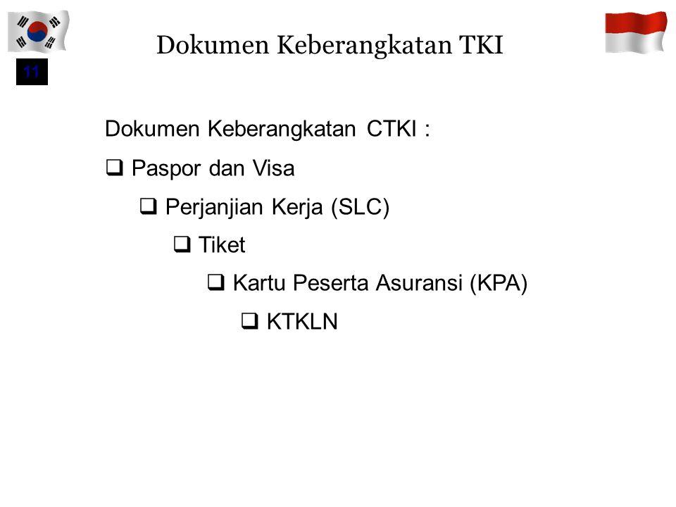 Prosedur Pemberangkatan TKI 40 Visa Mengirim ke HRD Korea daftar nama CTKI yang telah terbit Visa Mengirimkan ke BNP2TKI Name Tag dan jadwal masuk Korea Pengumuman Panggilan ke berangkatan di website BNP2TKI Penerbitan KTKLN TKI diantar ke Bandara Soekarno Hatta KEDUTAAN KOREA BNP2TKI HRD KOREA BNP2TKI TKI berangkat ke Korea TIBA DI KOREA  Dijemput HRD Korea  MCU  Pelatihan  Penempatan Medical check up UNFIT dikembalikan ke Indonesia dengan biaya sendiri Bila ternyata TKI bersangkutan pernah melakukan pelanggaran keimigrasian, maka akan langsung di deportasi ke Indonesia oleh pihak Imigrasi Korea dengan biaya sendiri 10