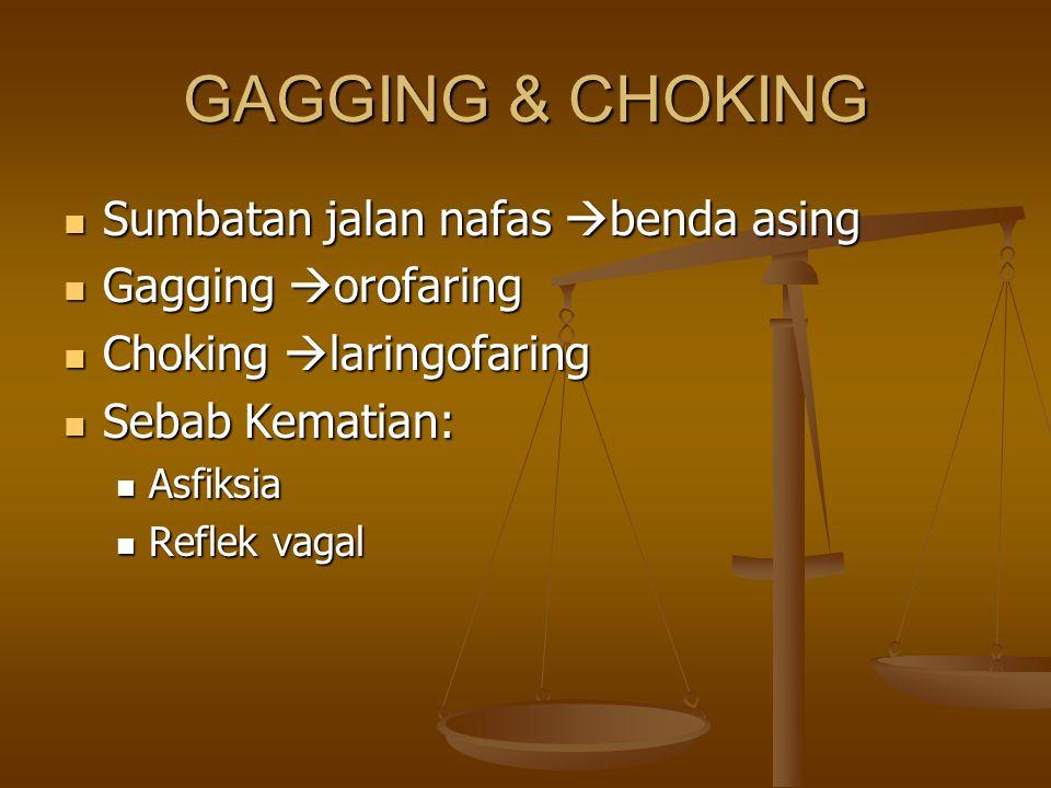 GAGGING & CHOKING Sumbatan jalan nafas  benda asing Sumbatan jalan nafas  benda asing Gagging  orofaring Gagging  orofaring Choking  laringofarin