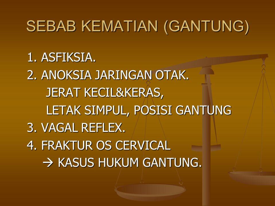 SEBAB KEMATIAN (GANTUNG) 1. ASFIKSIA. 2. ANOKSIA JARINGAN OTAK. JERAT KECIL&KERAS, JERAT KECIL&KERAS, LETAK SIMPUL, POSISI GANTUNG LETAK SIMPUL, POSIS