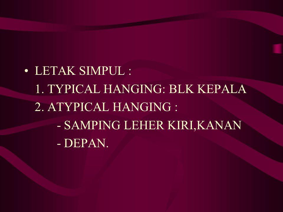 LETAK SIMPUL : 1. TYPICAL HANGING: BLK KEPALA 2. ATYPICAL HANGING : - SAMPING LEHER KIRI,KANAN - DEPAN.