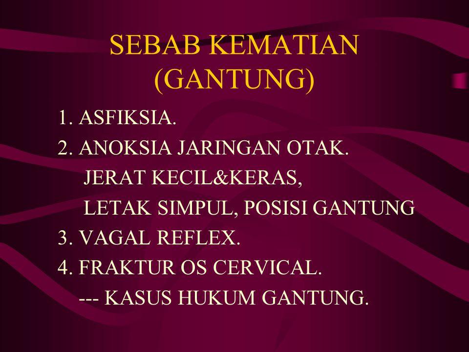 SEBAB KEMATIAN (GANTUNG) 1. ASFIKSIA. 2. ANOKSIA JARINGAN OTAK. JERAT KECIL&KERAS, LETAK SIMPUL, POSISI GANTUNG 3. VAGAL REFLEX. 4. FRAKTUR OS CERVICA