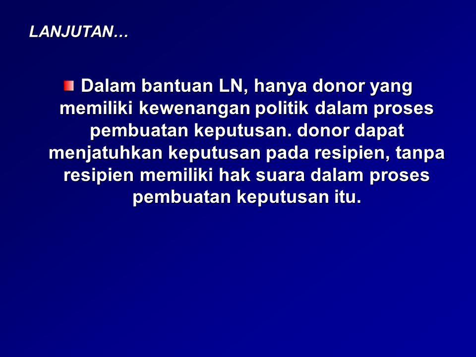 LANJUTAN… Pada level fungsional: peran lembaga donor dikaji dari konten aktivitasnya.