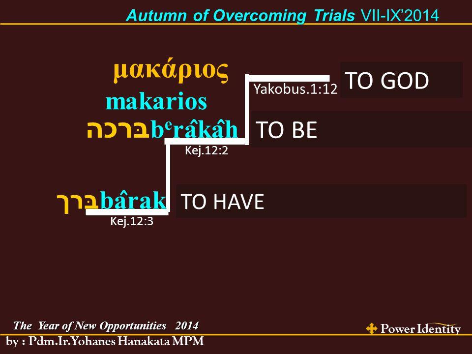 The Year of New Opportunities 2014 Power Identity by : Pdm.Ir.Yohanes Hanakata MPM Autumn of Overcoming Trials Autumn of Overcoming Trials VII-IX'2014 HAWA Kej.3:1-6 DUNIA 1 Yoh.2:15-16 YESUS KRISTUS Luk.4:2-12 KEINGINANDAGING KEINGINANMATA KEANGKUHANHIDUP KEINGINAN MENYAMAI ALLAH MENGINGINI YANG DILARANG BATU JADIKAN ROTI KEINGINAN DAYA TARIK KEINGINANDIPUJA PEMBUKTIAN KUASA/ KESAKTIAN