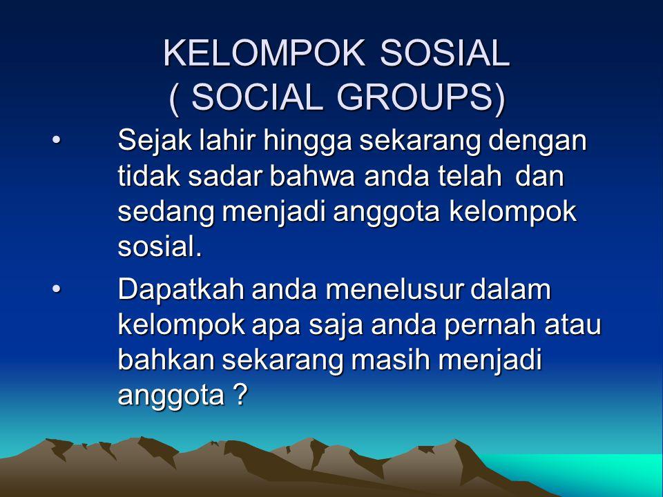KELOMPOK SOSIAL ( SOCIAL GROUPS) Sejak lahir hingga sekarang dengan tidak sadar bahwa anda telah dan sedang menjadi anggota kelompok sosial.