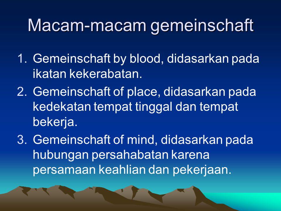 Macam-macam gemeinschaft 1.Gemeinschaft by blood, didasarkan pada ikatan kekerabatan.