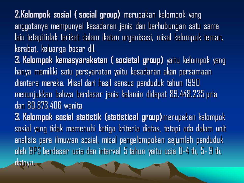 Klasifikasi Kelompok sosial menurut Robert K.