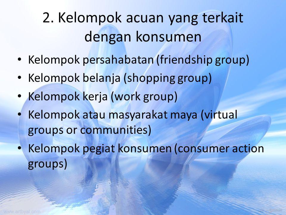 2. Kelompok acuan yang terkait dengan konsumen Kelompok persahabatan (friendship group) Kelompok belanja (shopping group) Kelompok kerja (work group)