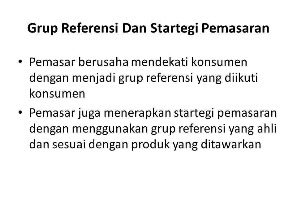 Grup Referensi Dan Startegi Pemasaran Pemasar berusaha mendekati konsumen dengan menjadi grup referensi yang diikuti konsumen Pemasar juga menerapkan startegi pemasaran dengan menggunakan grup referensi yang ahli dan sesuai dengan produk yang ditawarkan
