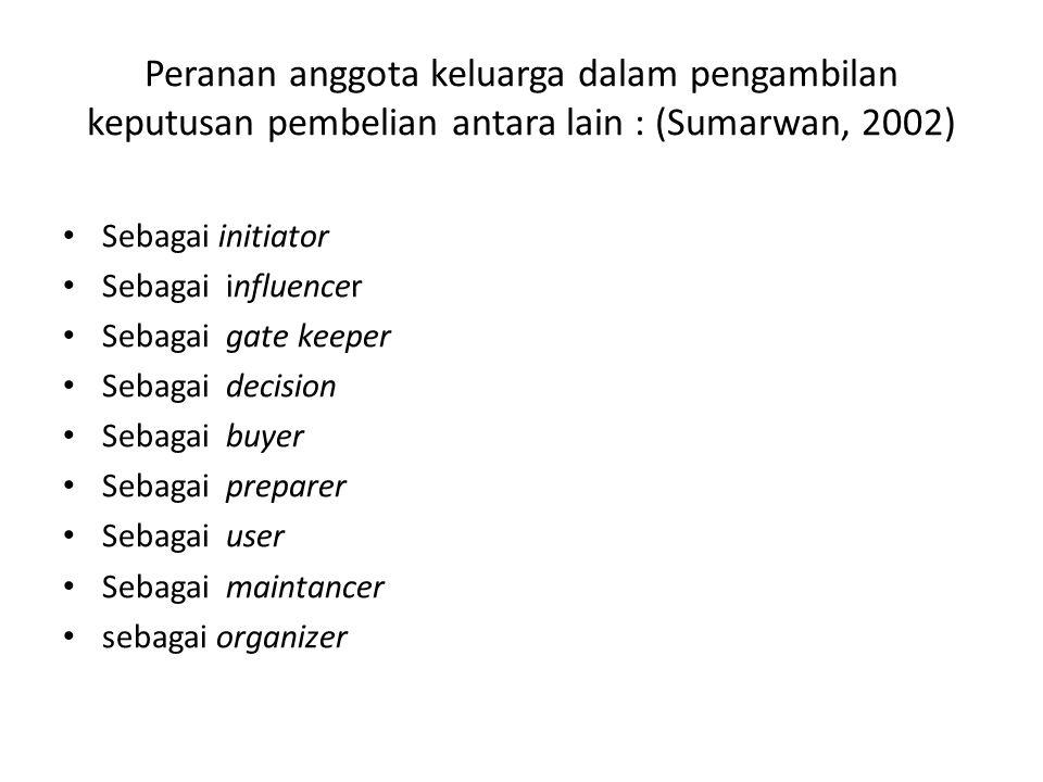 Peranan anggota keluarga dalam pengambilan keputusan pembelian antara lain : (Sumarwan, 2002) Sebagai initiator Sebagai influencer Sebagai gate keeper Sebagai decision Sebagai buyer Sebagai preparer Sebagai user Sebagai maintancer sebagai organizer