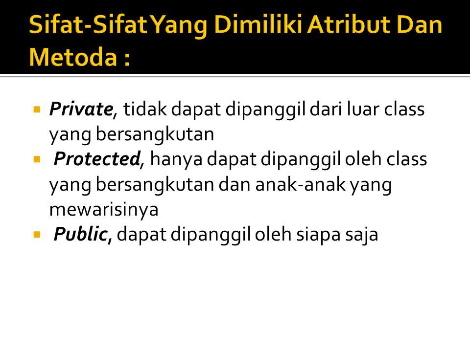  Private, tidak dapat dipanggil dari luar class yang bersangkutan  Protected, hanya dapat dipanggil oleh class yang bersangkutan dan anak-anak yang