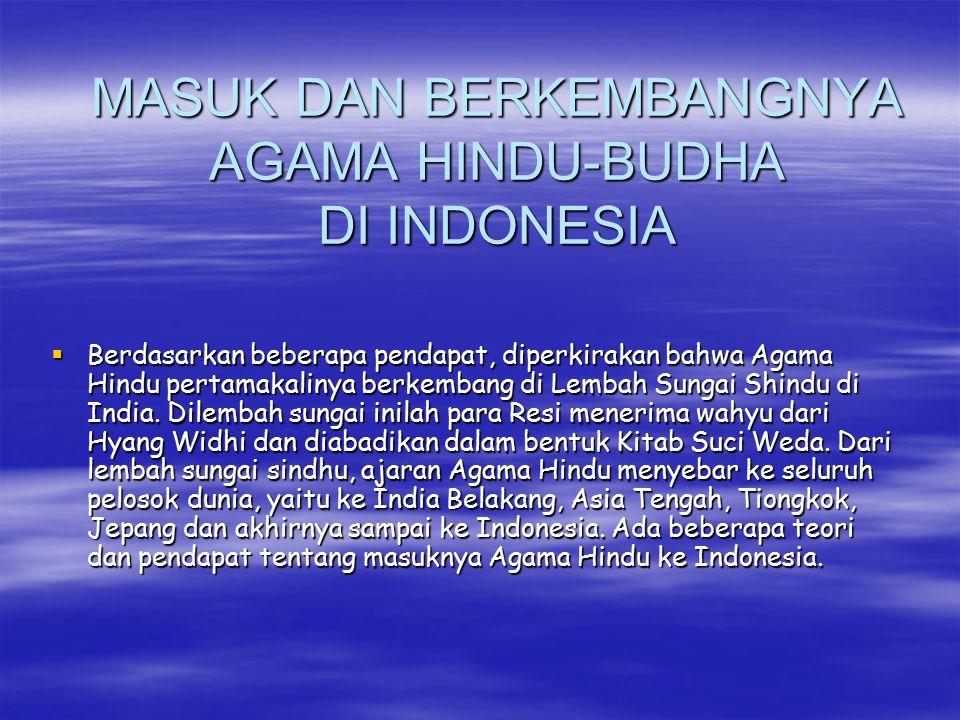 MASUK DAN BERKEMBANGNYA AGAMA HINDU-BUDHA DI INDONESIA  Berdasarkan beberapa pendapat, diperkirakan bahwa Agama Hindu pertamakalinya berkembang di Le
