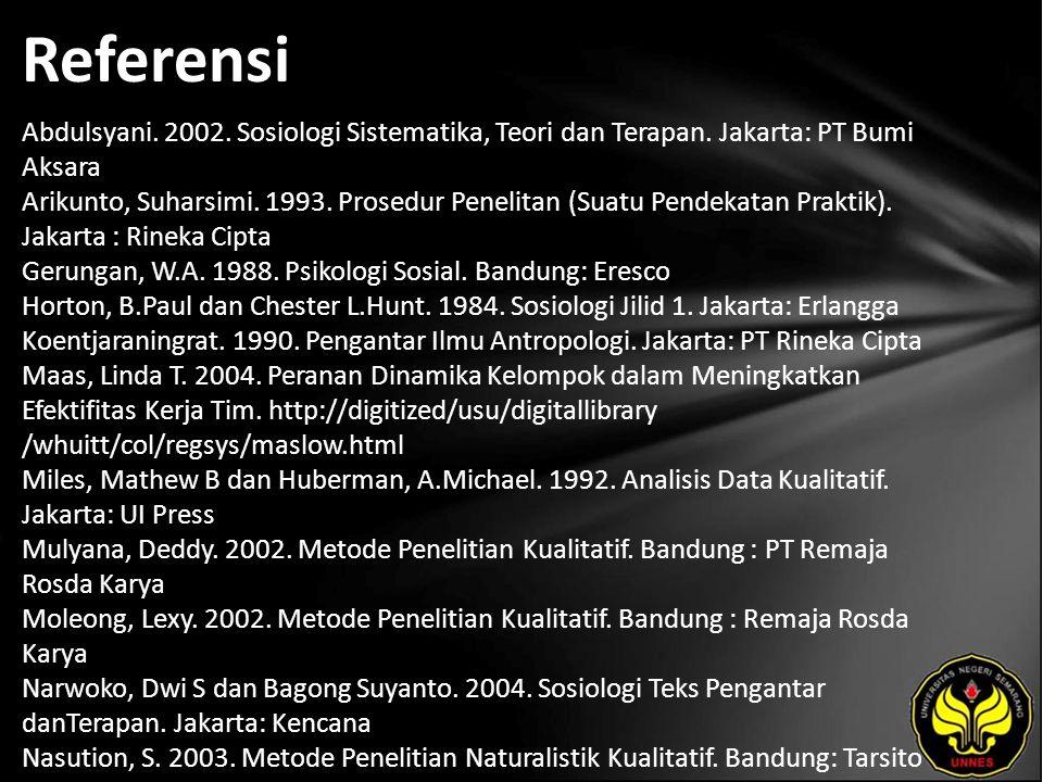 Referensi Abdulsyani. 2002. Sosiologi Sistematika, Teori dan Terapan. Jakarta: PT Bumi Aksara Arikunto, Suharsimi. 1993. Prosedur Penelitan (Suatu Pen