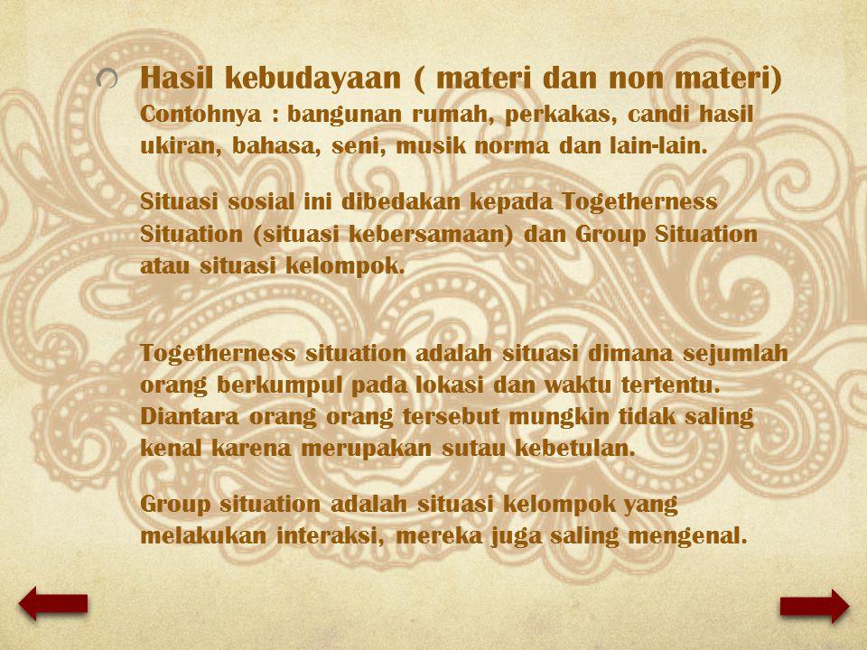 Hasil kebudayaan ( materi dan non materi) Contohnya : bangunan rumah, perkakas, candi hasil ukiran, bahasa, seni, musik norma dan lain-lain. Situasi s
