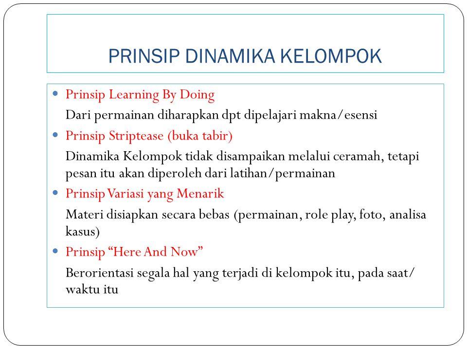 PRINSIP DINAMIKA KELOMPOK Prinsip Learning By Doing Dari permainan diharapkan dpt dipelajari makna/esensi Prinsip Striptease (buka tabir) Dinamika Kel