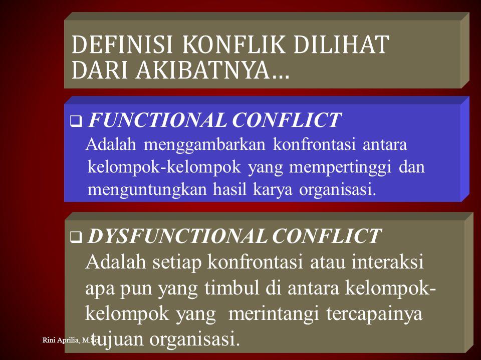 DEFINISI KONFLIK DILIHAT DARI AKIBATNYA…  FUNCTIONAL CONFLICT Adalah menggambarkan konfrontasi antara kelompok-kelompok yang mempertinggi dan menguntungkan hasil karya organisasi.