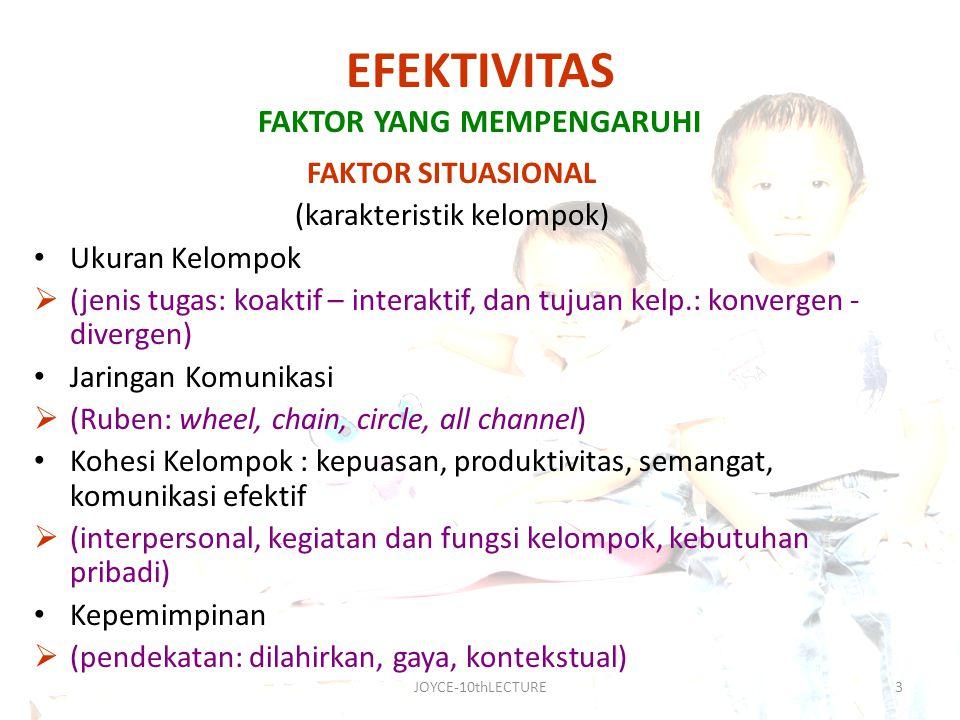 JOYCE-10thLECTURE4 FAKTOR PERSONAL (karakterisitik anggota kelompok) Kebutuhan Interpersonal  (inclusion, control, affection) Tindak Komunikasi (communication act)  (R.E.