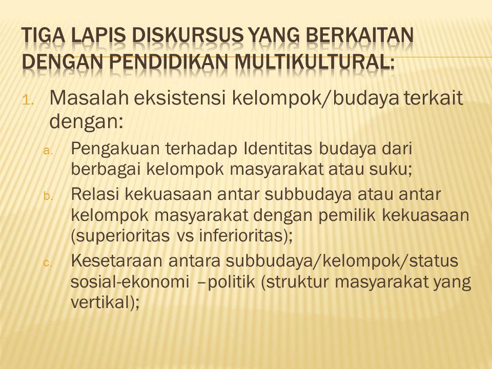 1. Masalah eksistensi kelompok/budaya terkait dengan: a. Pengakuan terhadap Identitas budaya dari berbagai kelompok masyarakat atau suku; b. Relasi ke