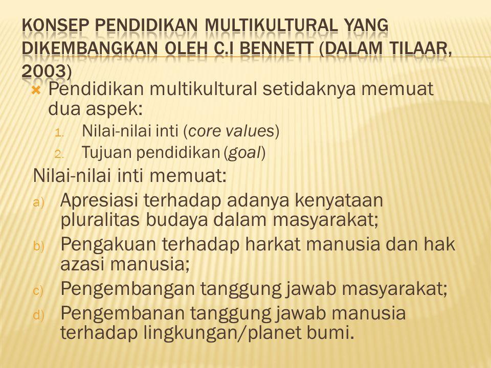  Pendidikan multikultural setidaknya memuat dua aspek: 1.