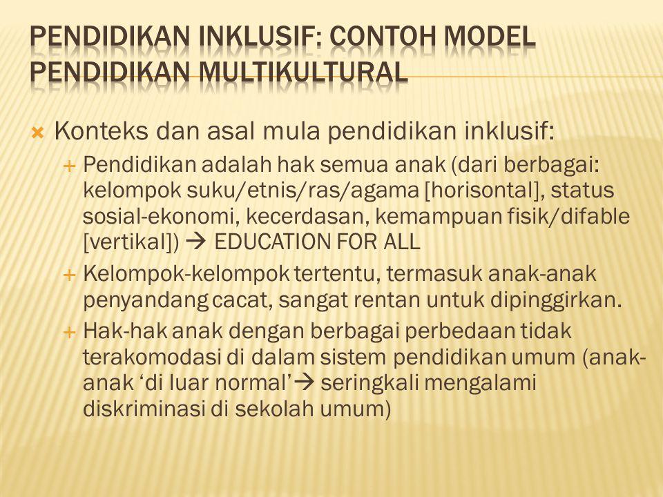  Konteks dan asal mula pendidikan inklusif:  Pendidikan adalah hak semua anak (dari berbagai: kelompok suku/etnis/ras/agama [horisontal], status sos