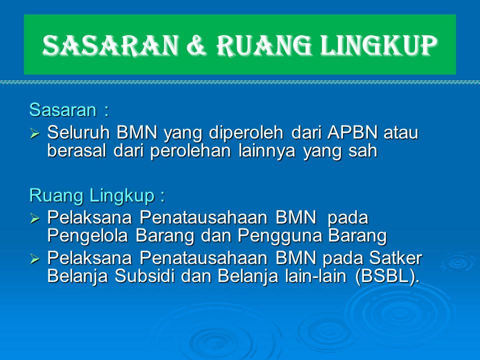Sasaran & Ruang Lingkup Sasaran :  Seluruh BMN yang diperoleh dari APBN atau berasal dari perolehan lainnya yang sah Ruang Lingkup :  Pelaksana Pena