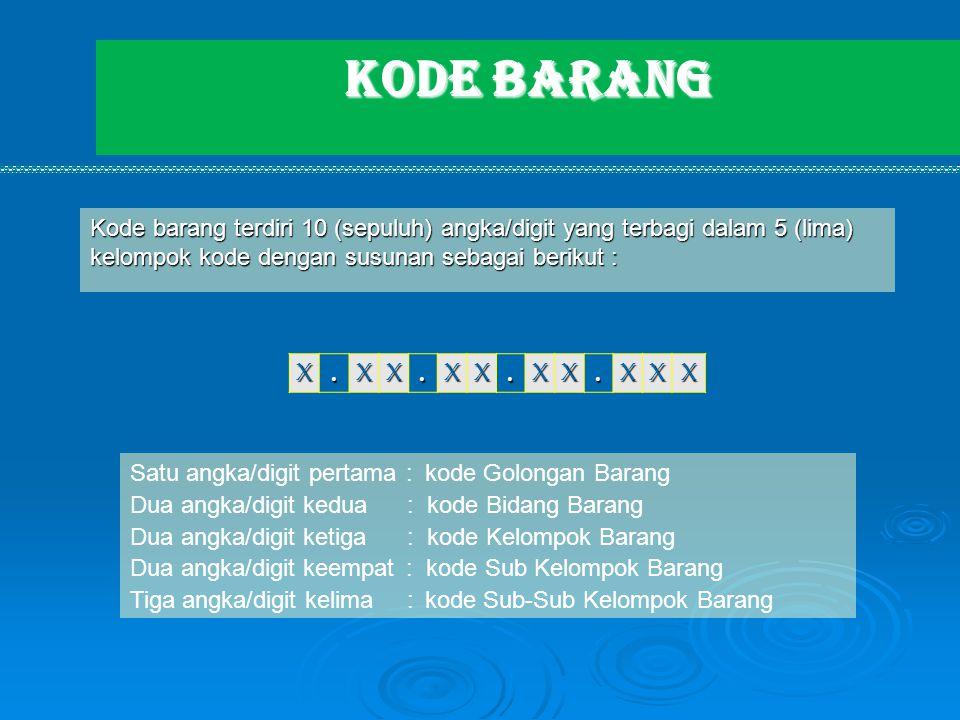 KODE BARANG Kode barang terdiri 10 (sepuluh) angka/digit yang terbagi dalam 5 (lima) kelompok kode dengan susunan sebagai berikut : X.XX.XX.XX.XXX Sat