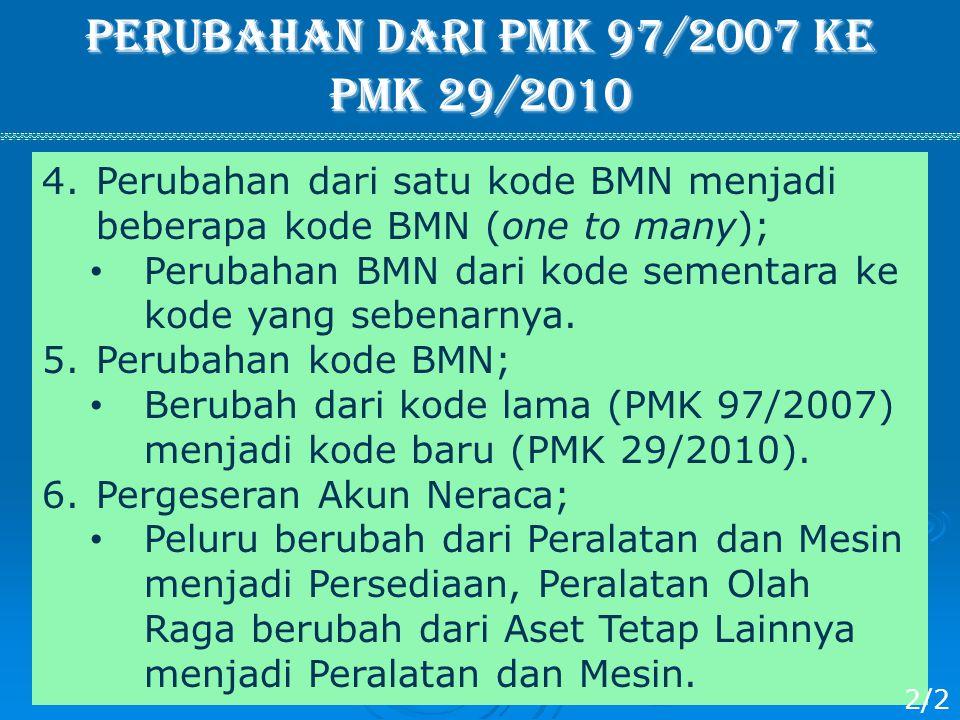 Perubahan dari PMK 97/2007 ke PMK 29/2010 4.Perubahan dari satu kode BMN menjadi beberapa kode BMN (one to many); Perubahan BMN dari kode sementara ke
